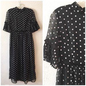 Stylewe Black White Cross High Waist Midi Dress M